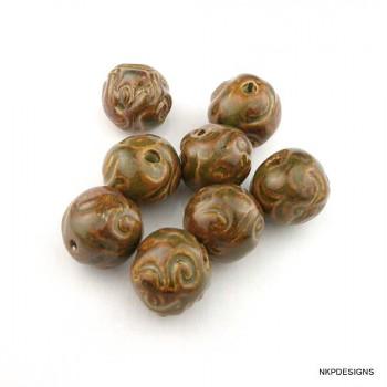 Golden Brown Scroll Ceramic Beads