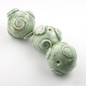 Celedon Sprig Swirled Ceramic Beads
