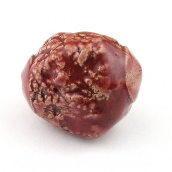 Red Lava Textured Stoneware Nugget Bead