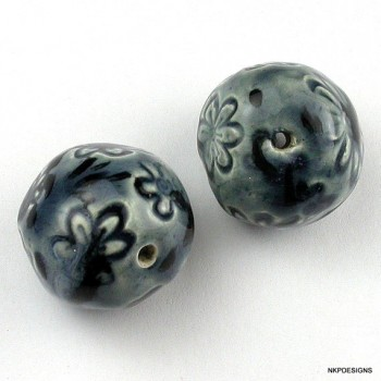 Daisy Blues with Accents Porcelain Beads