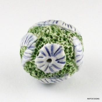 Green Blue Sprig Ceramic Bead