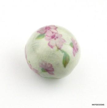 Pink Flowers Porcelain Bead
