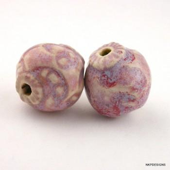 Magenta Porcelain Sprig Beads