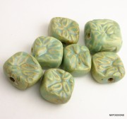 Mint Green Leaf Seed Square Stoneware Beads