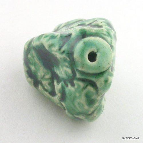 Green Textured Porcelain Nugget Bead