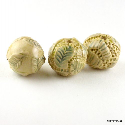 Creamy Vanilla with a Hint of Yellow Textured Stoneware Ceramic Beads