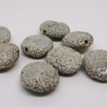 Baby Blue Textured Lentil Ceramic Beads