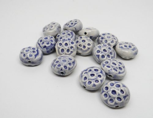 Lavender Dotted Tablet Ceramic Beads