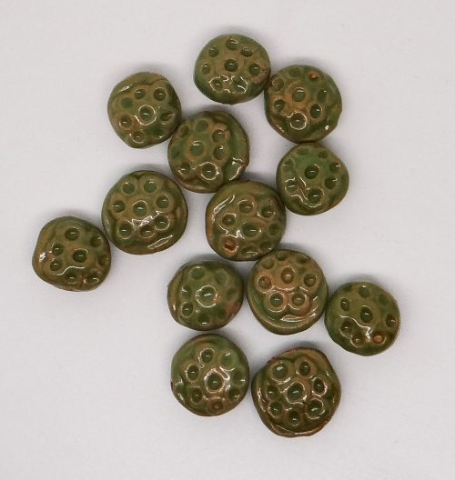 Green Dotted Tablet Ceramic Beads