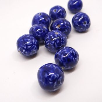 Cobalt Blue Ceramic Spacer Beads
