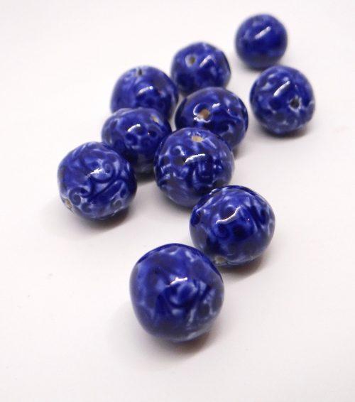 Cobalt Blue Ceramic Spacer Beads