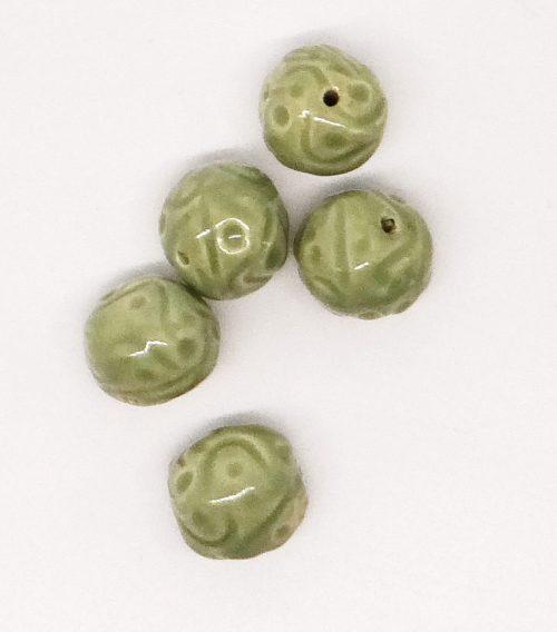 Sage Green Scrolling Ceramic Beads