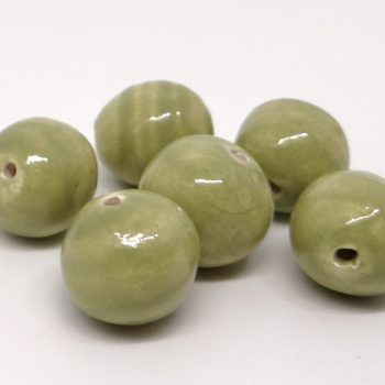 Sage Green Small Spacer Rounds Ceramic Beads