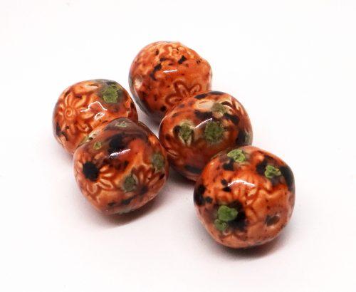 Daisy Texture Caramel Mint Chip Round Ceramic Bead