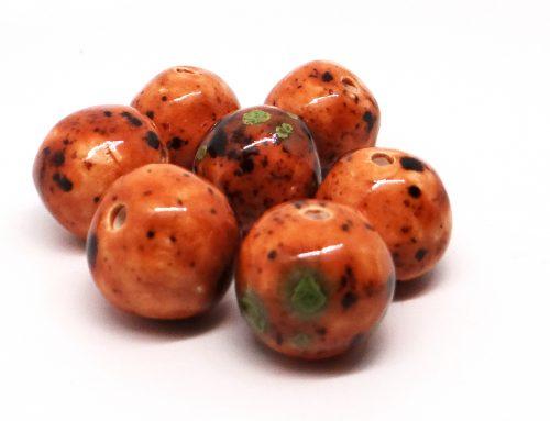 Caramel Mint Chip Round Ceramic Bead
