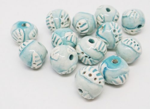 Light Turquoise Blue Sprig Texture Beads