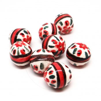 Red Green Embellished Beads